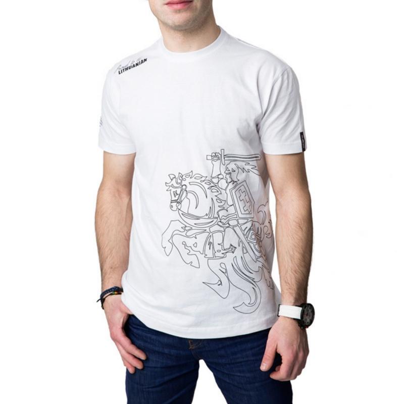 """- 30 % Balti vyriški marškinėliai  """"Vytis"""""""